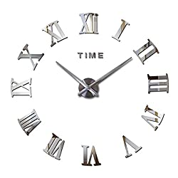 Modern Roman Large Wall Clock DIY Frameless Time Letters 3D Removable Mirror Surface Wall Clock for Home, Office, Bedroom, Living Room Decor (Silver)