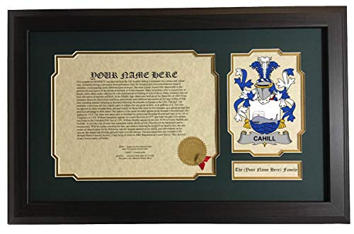 Cahill - Coat of Arms and Last Name History, 14x22 Inches Matted and -