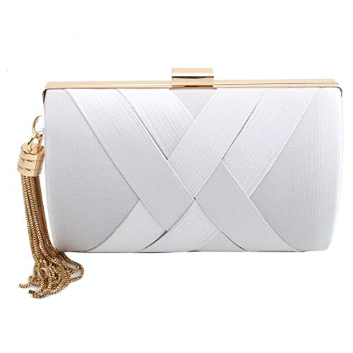 Satin White Clutch - Women's Elegant Tassel Pendant Silk Evening Bag Clutch Purse for Bride Wedding Prom Night Out Party (WHITE)