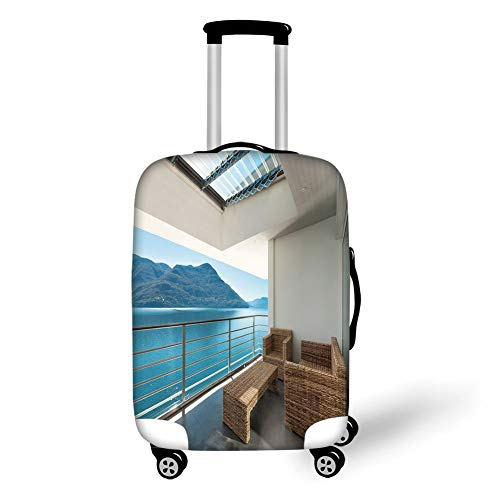 (Travel Luggage Cover Suitcase Protector,Patio Decor,Summer Penthouse Veranda Balcony with Sea Ocean View Image,Sky Blue Dark Green and White,for TravelL 25.9x37.8Inch)