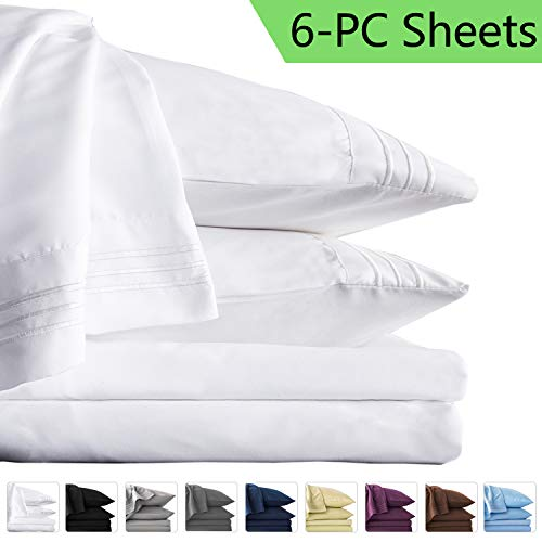 LIANLAM King 6 Piece Bed Sheets Set - Super Soft Brushed Microfiber 1800 Thread Count - Breathable Luxury Egyptian Sheets Deep Pocket - Wrinkle and Hypoallergenic(King, White) (Sheet Set King)