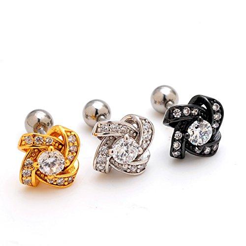 2 Pieces 16g Gem Knit Knot Upper Ear Cartilage Helix Studs Earrings Auricle Piercings 16 Gauges 1/4 6mm
