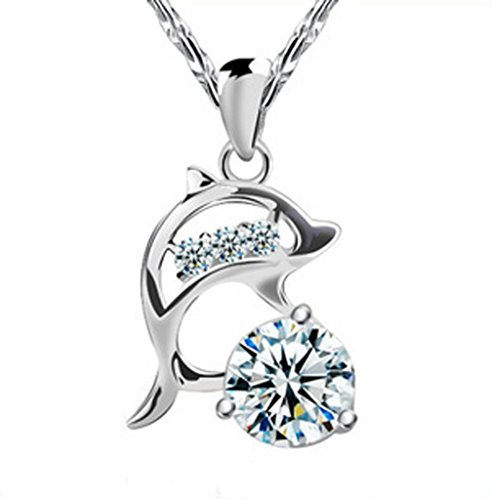 FB Sterling Silver Coating Cheerful Dolphin Match Transparent Diamond Pandent Necklaces