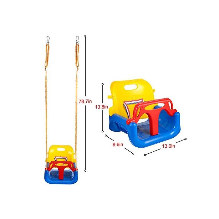 411ZeatbJlL ➦ DISEÑO 3-EN-1: El columpio tiene el diseño de una combinación de 3 en 1 que satisface la demanda suficiente para el crecimiento de sus hijos. Se adapta desde bebés hasta adolescentes. ➦ SEGURO SUFICIENTE: El protector de la barra en T y la parte posterior (que tiene un cinturón de seguridad colocado) garantizan la seguridad de sus hijos. El diseño especial de la hebilla para cuerda de nylon protege el columpio de volcarse. ➦ LONGLIFE PARA USO: El asiento del columpio está hecho de plástico de alta calidad que garantiza años de balanceo.