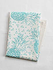 Organic Cotton Geometric Pineapples Tea Towel in Mint Green