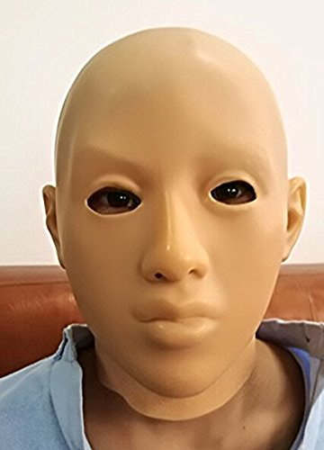 LMJMASK Fetish Latex Realistic Full Head Shiny Masks for Party Halloween (Skin color, M size, eyes (Realistic Halloween Masks)