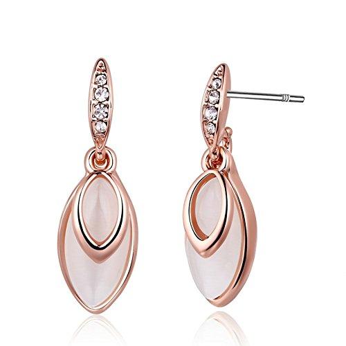 MoAndy Jewelry Silver Plated Women Threader Earring Leaves Rose - Radish Luna Earrings