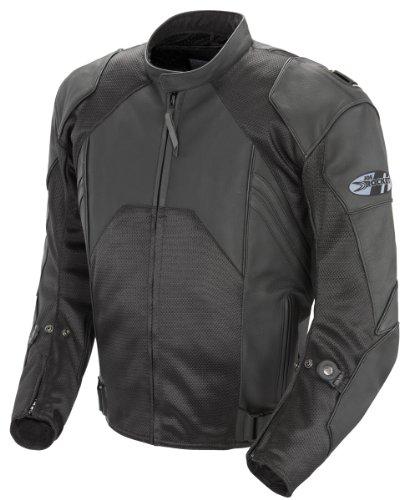 Joe Rocket Radar Dark Mens Leather Hybrid Motorcycle Jacket Black/Black Size 46