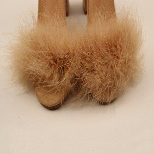 QIYUN.Z Womens Rabbit Buckle Ankle Atrap Peep Top Sandles Ladies Gold Silver Wedding Bridal Prom Shoes High Heel Sandal UK Size 2-8.5 Brown 0XFc6