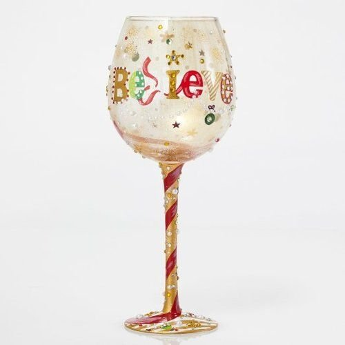 Enesco Bling Believe Too Wine Glass by Lolita, 10''