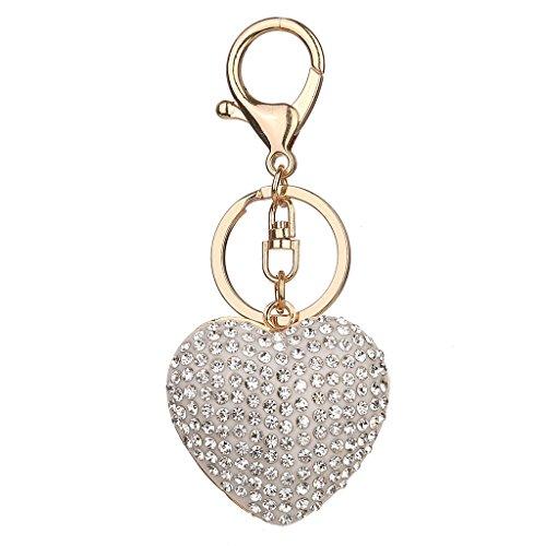 CHBC Heart Design Full Rhinestone Handbag Charm Pendant Bag Keyring Key Chain Keyfob (Full Rhinestones Snap)