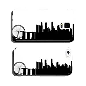 Singapore Asia city skyline silhouette. Vector illustration cell phone cover case Samsung S5