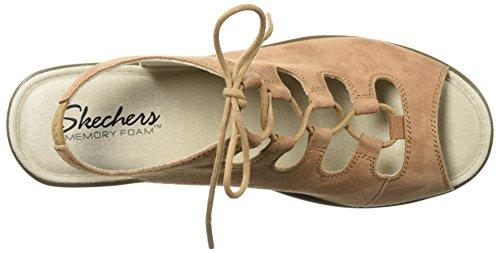 Slingback Parallel Sandal Brown Skechers Ghillie Peep Light Toe Wedge Women's 5S15wXFqnZ