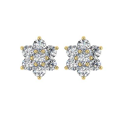 Diamant Delight Veste de 10K boucles d'oreille Clous en forme de fleur (si1-si2, 1carat)