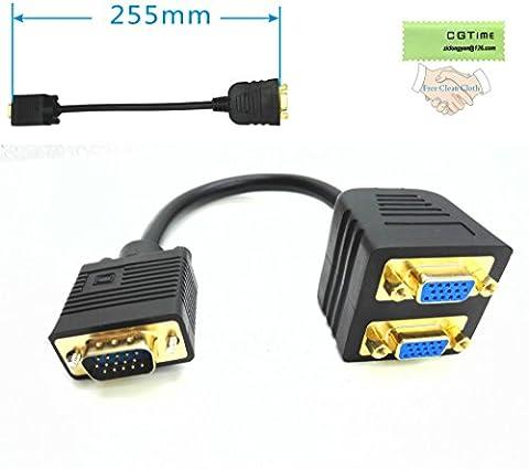 CGTime 1 VGA Male to 2 VGA Female VGA Monitor Y Splitter Cable 25cm - Svga Monitor Splitter