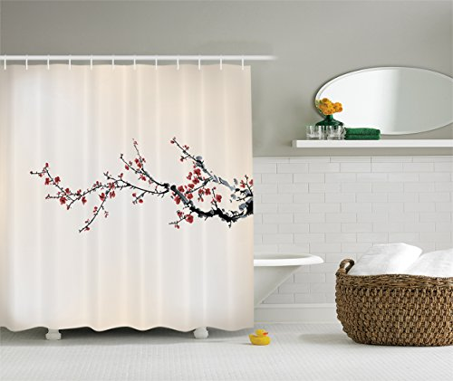 Ambesonne Watercolor Flowers Decor Collection, Cherry Branches Blooms Flowers in Classic Asian Painting, Polyester Fabric Bathroom Shower Curtain Set with Hooks, Paprika Ivory