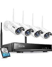 ZOSI H.265+ 8CH 1080P HD WLAN NVR Bewakingsset met 1TB Harde Schijf plus 4X 2.0MP WIFI Buiten IP Bewakingscamerasysteem