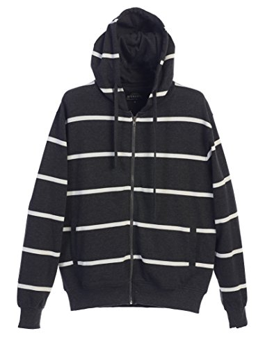 Gioberti Mens French Terry Full Zip Striped Hoodie Sweater, Charcoal, X Large