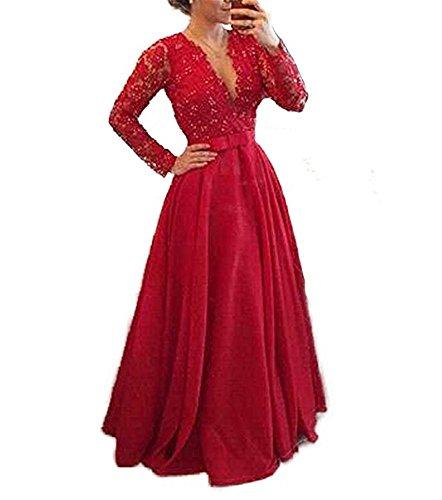 Ausschnitt Red Cocktail V Ärmel Lange Lang Ballkleider Bainjinbai Brautjungfernkleider Damen Abendkleider mit wxR6EqEP