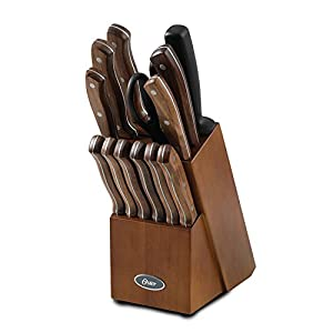 Oster Whitmore 14 Piece Cutlery Set, Stainless Steel with Black Walnut Handles