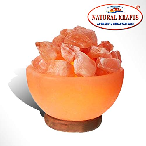 Himalayan Rock Salt Pink Lamp Natural On Wooden Base Best Glowing Hand Carved Gift with Cable & Bulb (FireBowl Shape ()