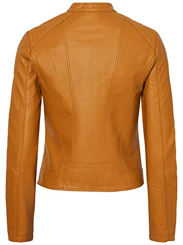 Favo Mujer para Faux Jacket Leather Vero IP Coñac Vmeurope Chaqueta Moda fHxnqUE
