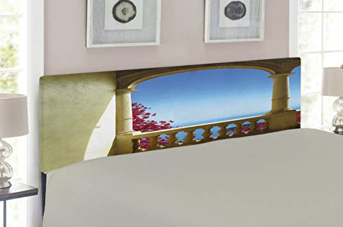 Lunarable Patio Headboard for Full Size Bed, Ancient Balcony with View to Mediterranean Sea Bougainvillea Majorca Art, Upholstered Metal Headboard for Bedroom Decor, Sand Brown Pink Blue