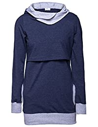 Happy Mama. Womens Nursing Hoodie Breastfeeding Contrast Detail Maternity. 467p