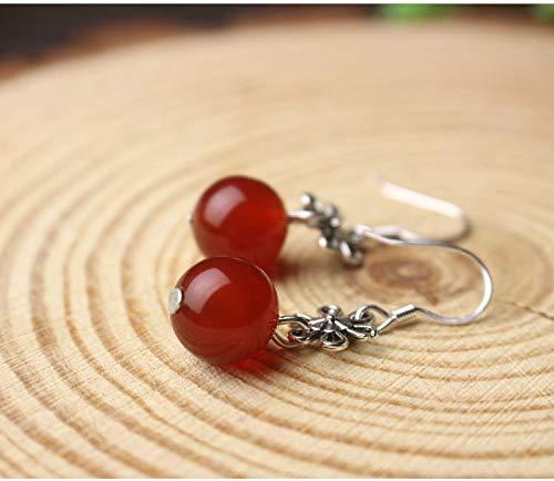 Candy-Colored Agate Jade Earrings Earring Dangler Eardrop Creative Gift Long Elegant Woman (red