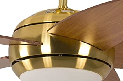 Ceiling Fan Melton Brass 52 inch with Light and Remote Control Blades Brown Wanaque