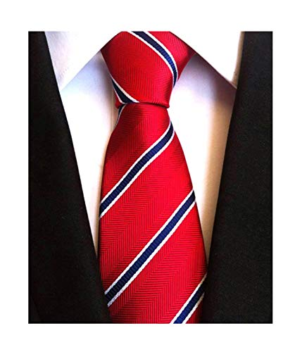 Secdtie Men's Classic Stripe Jacquard Woven Silk Tie Formal Party Suit Necktie (One Size, Red Blue)