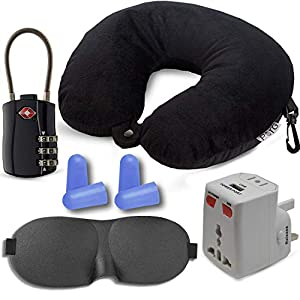 "HeroFiber Neck Pillow and Eye Mask Travel Kit, Includes Beaded Neck Pillow, International Adapter with USB, Eye Mask, Noise Canceling Ear Plugs, TSA Approved Luggage Lock, ""Fly in Comfort"""