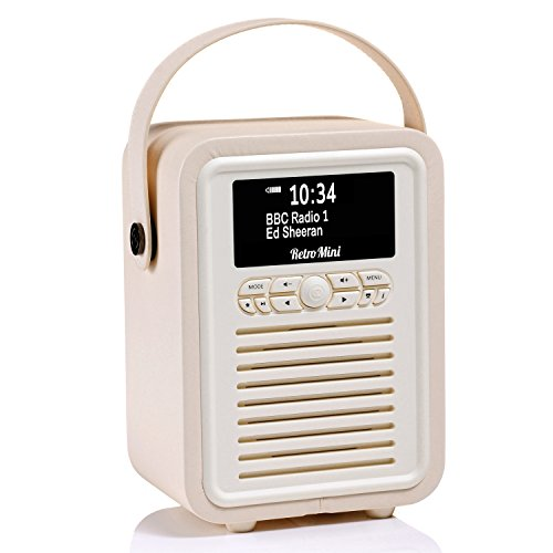 VQ Retro Mini HD Digital & FM Radio with Bluetooth - Featuring; Vintage Design, Auto-Scan, Dual Alarm Clock, USB Charging Port, Wrapped in Premium Leatherette - ()