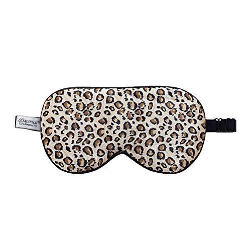 ZIMASILK 100% Natural Silk Sleep Mask Blindfold,Adjustable Super-Smooth Soft Eye Mask for Sleep with Bag(Leopard Print)