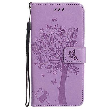 Fundas y estuches para teléfonos móviles, Para el iphone de la manzana 7 más 7 caja de cuero del teléfono del patrón y del gato de la PU 6s más 6 más 6s 6 se 5s 5 5c 4s 4 ( Color : Azul , Modelos Comp Negro