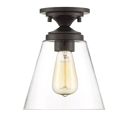 Fluted Glass One Light - Trade Winds Lighting TW60047ORB Industrial Vintage Retro Fluted Clear Glass Loft Close to Ceiling Semi-Flush in Oil Rubbed Bronze