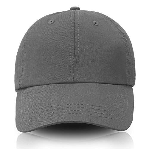 Yamanman Men Women Baseball Cap Adjustable Cotton Dad Hat Washed Twill Plain Cap Low Profile(Grey) ()