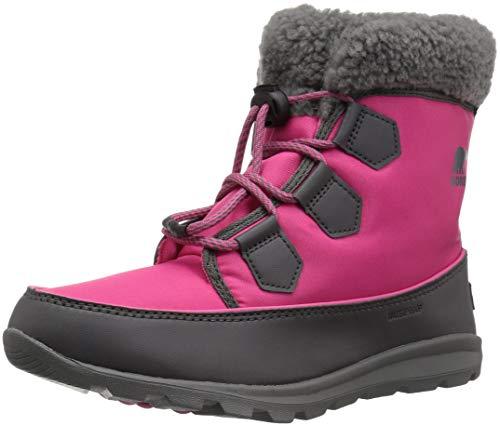 SOREL Girls' Youth Whitney Carnival Snow Boot, Ultra Pink, Dark Grey, 2 M US Big Kid