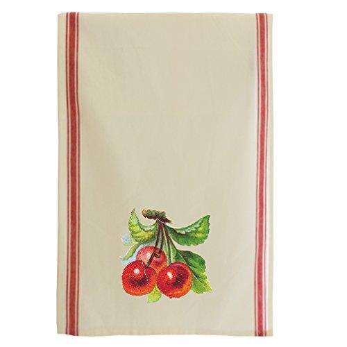 Cherry Style 1 Cotton Retro Stripe Dish Kitchen Towel Red Stripe