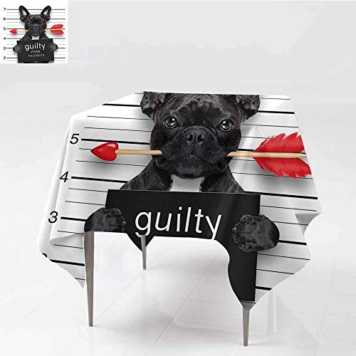 Antifouling Tablecloth Funny Valentines Bulldog with Rose in Mouth As Mug Shot Guilty of Love Romance Design Black Red White Table Decoration W70 xL82