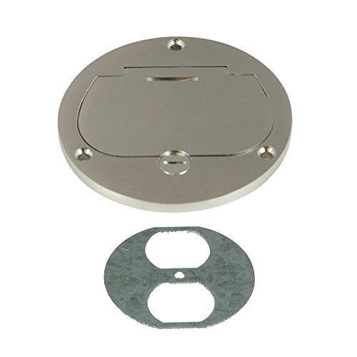 Enerlites 975502-S 4'' Hinged Floor Box Cover Flange, 20A Duplex Tamper-Weather Resistant Receptacle, Nickel Plated Brass (Plate Cover Renovation)