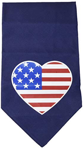 (Mirage Pet Products American Flag Heart Screen Print Bandana Navy Blue, Large)