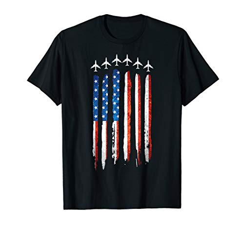 Jet Fighter Airplane Air Craft USA American Flag Gift Shirt
