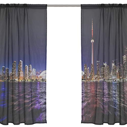 RH Studio Sheer Curtain Drape 2 Panel Toronto City Cn Tower Skydome Door Window Gauze Curtains for Living Room Bedroom Office(55x78inch) (Toronto Sheer Curtains)