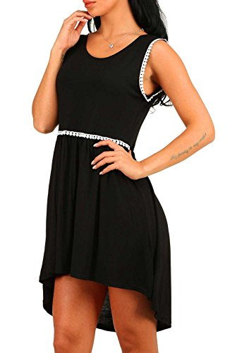 T Dress Women Black Shirt Loose Casual Sleeveless Neck Asymmetrical Round Blansdi 0zFdwfx0