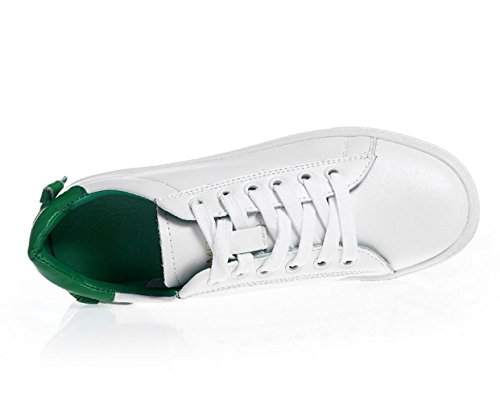 YCMDM delle nuove donne del cuoio genuino piccole scarpe bianche in pizzo pattini piani casuali scarpe sportive singole primavera e l'estate , green , 36