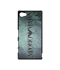 Play89Only - Armani Xperia Z5 Compact Cell Phone Funda Case Cover, Brand Logo Phone Funda Case Hard Plastic Scratch-Proof Slim Back Funda Case Cover For Sony Xperia Z5 Compact (Just Fit For Z5 Compact)