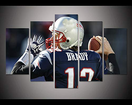 JESC 5 Panel HD Printed Canvas Painting Tom Brady Sport Poster Canvas Print Modern Home Decor Wall Art Picture for Living Room ()