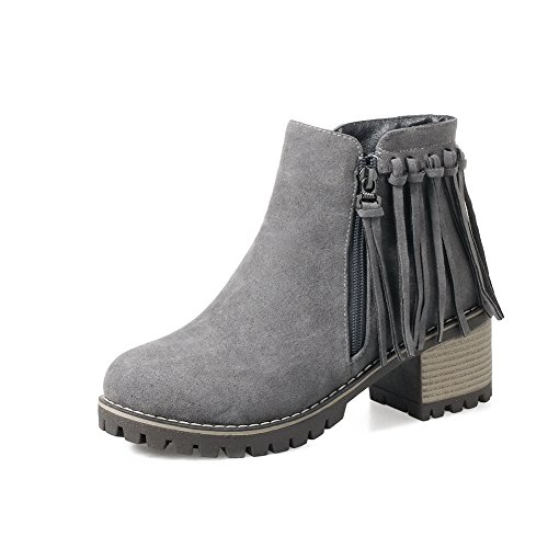 BalaMasa Womens Platform Slip-Resistant Tassels Suede Boots ABL10446 Gray