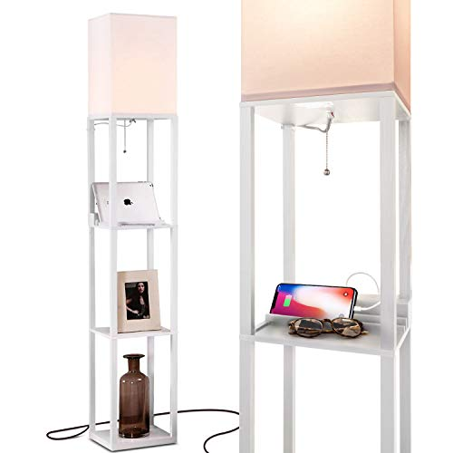 - Brightech Maxwell Charging Edition - LED Shelf Floor Lamp for Living Rooms & Bedrooms - Includes USB Ports & Electric Outlet - Modern Standing Light - Asian Display Shelves - White